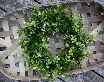 Boxwood Tobacco Basket Wreath, Farmhouse Cottage Country Gallery Wall Decor, Rustic Southern Decor, Fixer Upper Decor