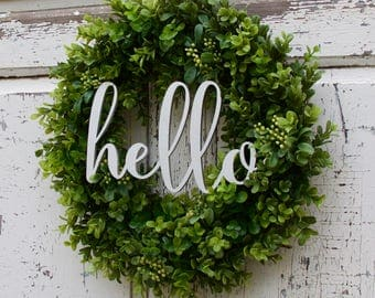 Boxwood Wreath, Hello Wreath, Front Door Wreath, Year Round Wreath, Summer Wreath, Everyday Wreath, Natural Wreath, Fixer Upper