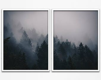 Fog Forest, Forest Photography, Fog, Forest Poster, Forest Photo, Fog Art, 2 Piece Wall Art, Foggy Forest, 2 Piece Set, Set of 2 Prints, 272