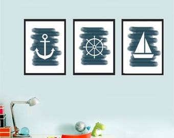 Set of 3 Printable wall art set Digital Prints navy decor