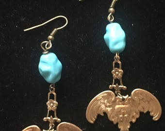 Antique brass owls and breads earrings
