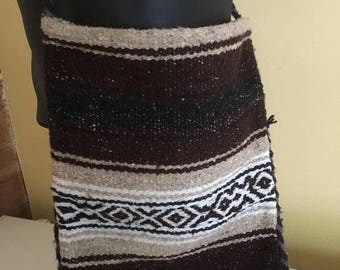 NEW LOW PRICE Mexican Blanket Purse, brown/white/ bag,Shoulder Bag/hippie purse/hipster bag.