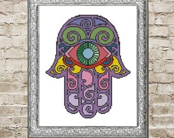 Cross stitch pattern Yoga gift for yoga Cross stitch PDF Hamsa hand Yoga art Yoga decor Color me Evil eye hamsa Yoga wall art Chakra gift