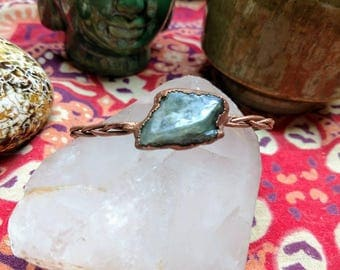 Aquamarine Bracelet with Braided Copper Band