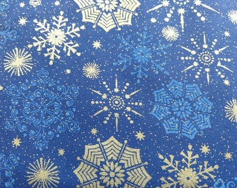 Christmas Fabric in Silver Snowflakes, Blue Snowflakes, Silver Sparkles
