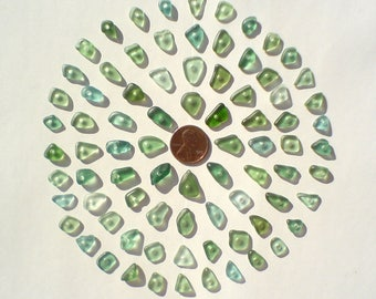small 80 center drilled Genuine surf tumbled sea beach glass for jewelry 8-13 mm in length, aqua sea foam blue olive teal