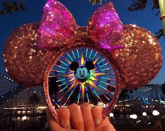 Light Up Rose Gold Sequin Mouse Ears, Pink Lights in Bow