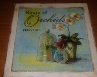 Square Decoupage Vintage Orchid Kitchen