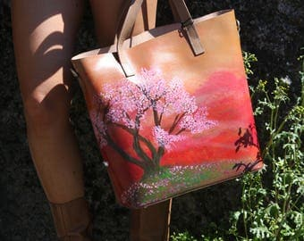 """Hand Painted Leather Shopper """"Tree of Life"""""""