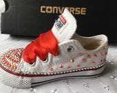 Bling  Customised Red Sparkles JuniorKids CONVERSE ALL STAR Trainers 11 12 13 1 2