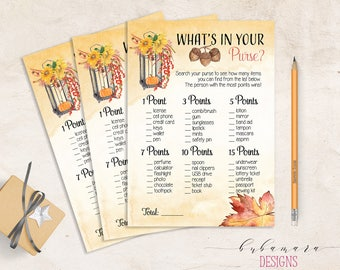 What is in your Purse Bridal Shower Printable Game Fall Pumpkin Bridal Card Wedding Trivia Orange Floral Quiz Instant Download - BG006