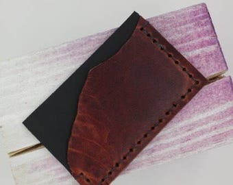Dark Red/Brown Leather Credit Card Wallet