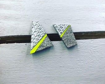 Metallic Silver & Fluorescent Yellow Mosaic Leather Stud Earrings