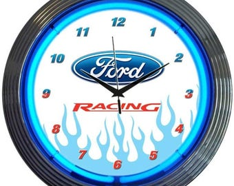 """Antique Style """" Ford Racing Logo """" Neon Clock"""