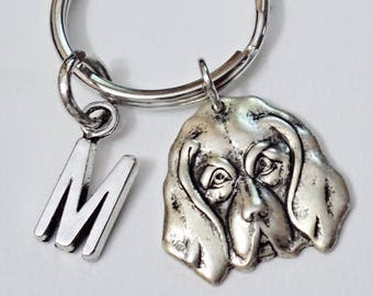 Great Design brass stamping dog face personalized  initial keychain /u1