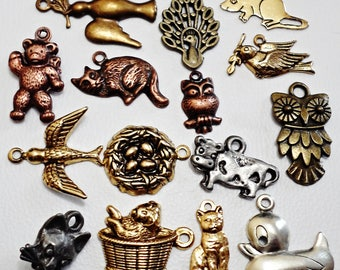 Set of 15 Rare Amazing Details  ANIMALS COLLECTION Tiny brass & pewter  Charm  Jewelry Making made in USA /j5