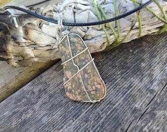 Unakite Crystal Necklace - Wire Wrapped Pendant - Healing Crystal Jewelry - Reiki Infused Jewelry - Heart Chakra - Chakra Jewelry - #619