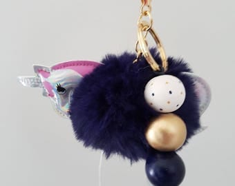 Fluffy Wooden Bead Navy Unicorn Keyring - Bag Charm