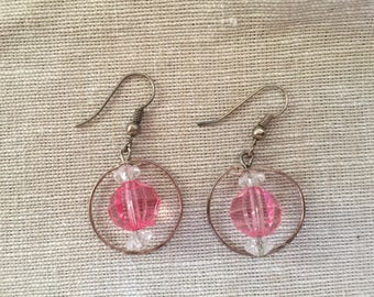 Pink Beads in Hoops Earrings