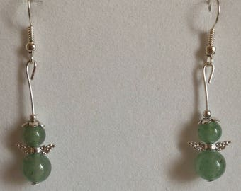 Green aventurine, alloy frame earrings and Tibetan silver beads.