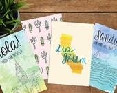 Postcards, Postcard set, Watercolor art, Travel art, california post cards, San Diego post cards, wedding favors, california wedding