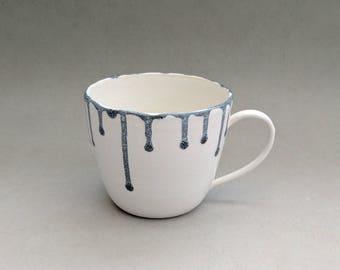 White mug with black drips- Handmade stoneware ceramics