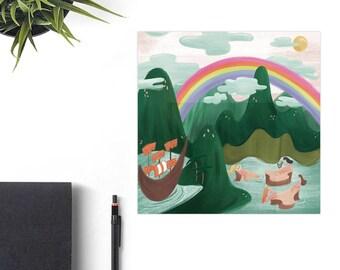 Peter Pan's Flight Disney Art Print, Disney Christmas Gift, Retro Disney Parks, Co-Worker Christmas Gift Idea, Disney Lover Gift, Mary Blair