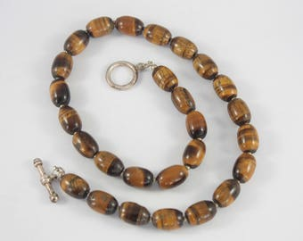 Vintage Tiger's Eye Necklace, Tiger's Eye Beads, Barrel Bead Necklace, Brown Gemstone Necklace, Tigers Eye Barrel Beads