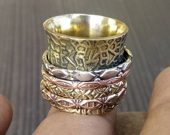 4 Spinner bands ring | Texture bands jewelry | Jewelry from India | Women banjara rings | Wide Meditation rings | Brass bands ring | R68