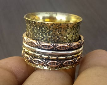 Star design spinner rings | Ethnic spinning jewelry ring | Indian fusion jewelry | Wedding gift jewelry | Meditation jewelry ring | R140
