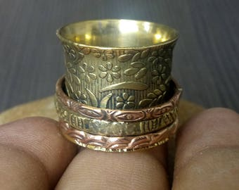 Wide prayer spinner rings | Indian brass bands | Spinning rings for meditation | Valentines day worry rings | Yoga jewelry for girls | R164