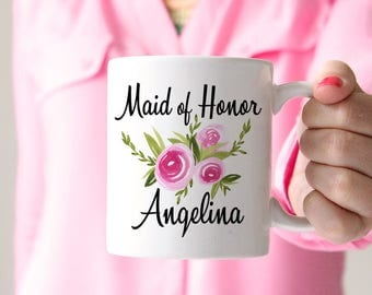 Maid of Honor Mug Bridesmaid Proposal - Bridesmaid Gift Mug - Bachelorette Party Mug - Bridesmaid Mug - Watercolor Floral Mug - Wedding Mug