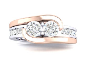 Ladies 14K Two Tone White/Rose Gold  Two Stone Ever US Ring With  Round Brillant  Cut Diamond  Ring .92CT T.W
