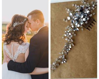 Silver Floral hair piece Rhinestone headpiece Bridal hair comb Bridal hair accessories Wedding hair piece Bridal headpiece Crystal hair comb