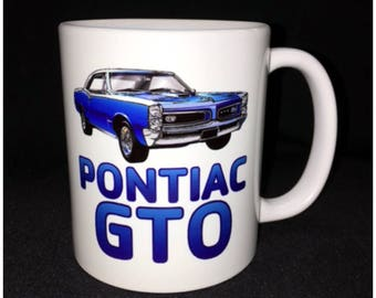 Hot Rod, Custom Car Coffee Mug, Street Rod, Roadster, 67 GTO, Pontiac GTO, Indian Head
