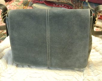 A Very Nice Slate Blue Suede Coach Shoulder Bag