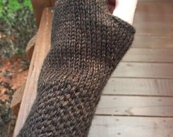 Brown Wrist warmers fingerless gloves