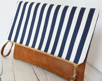 Blue White Clutch Bag, Striped Clutch Purse, Faux Leather Clutch, Large Clutch, Leather Clutch, Wristlet Clutch, Clutch Purse, Gift Idea