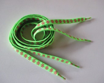 Neon Green shoelace with blush polyester 1.10 m.