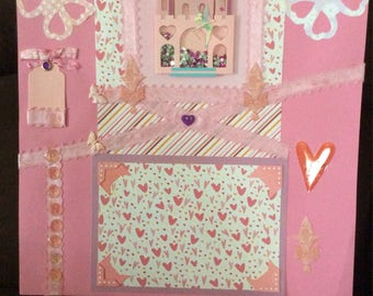 PRINCESS 2 page 12x12 PREMADE Scrapbook pages, with Castle and Tear BEAR!