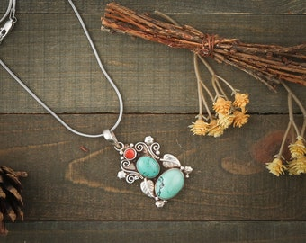 Turquoise and Coral filigree 925 Sterling Silver pendant