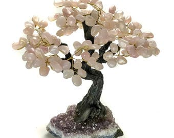 Large Rose Quartz Gemstone Tree on Amethyst Matrix