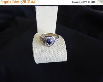 ON SALE stunning vintage sterling silver amethyst and cz heart ring size 8