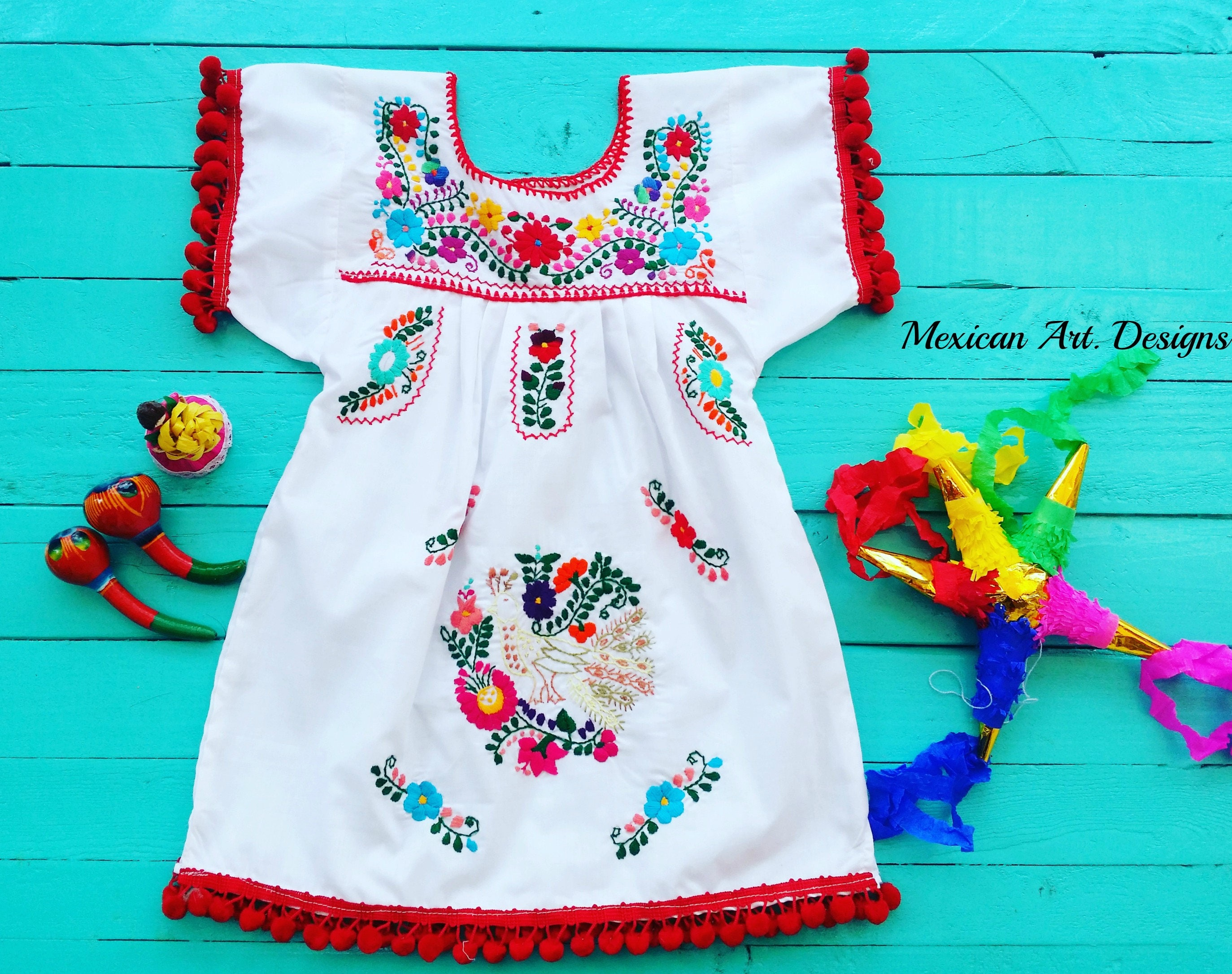 Peacock White Mexican Embroidered Dress with Red Pompom Size 3T