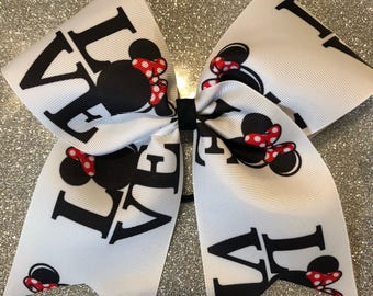 Minnie Mouse Love Black White Grosgrain Cheer Bow