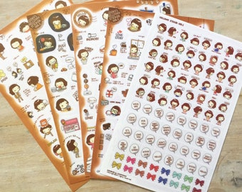 Kawaii planner stickers, set of 5 sheets