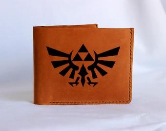Zelda wallet Zelda bifold legend of zelda Hyrule Crest Triforce Custom wallet Personalized wallet Leather custom wallet Engraved wallet