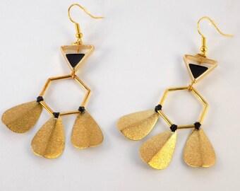 Black Golden Earrings Hexagone Enamel Triangle 3 Tassels