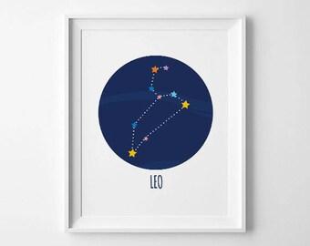 Leo zodiac print, leo constellation, zodiac constellation, SALE zodiac print,horoscope art,astronomy print,zodiac wall art,leo birthday gift