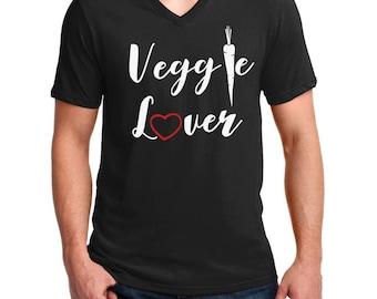 Men's V-neck - Veggie Lover T Shirt - Vegan Tee - Animal Lovers - Vegetarian T-Shirt - Love For The Animals